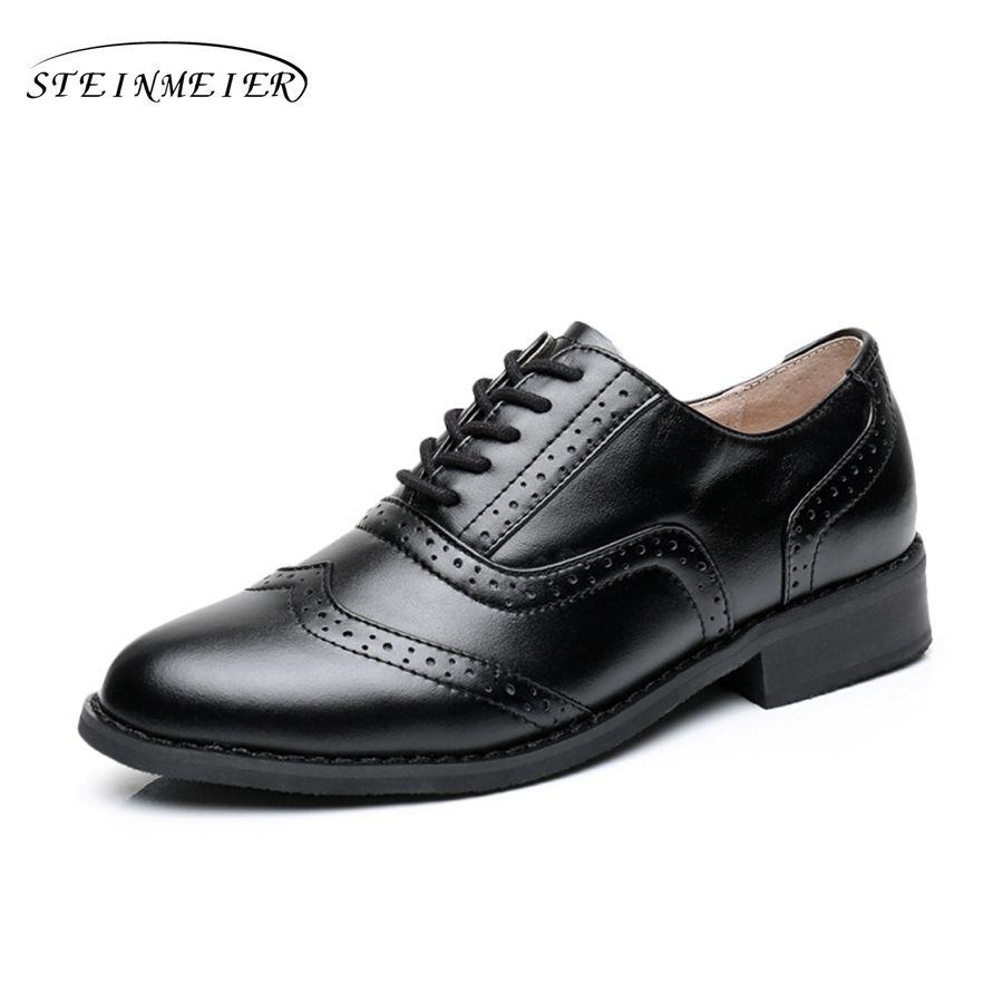 Женские оксфорды на плоской подошве обувь большого размера без каблука натуральная кожаная Винтажная обувь ручной работы с круглым носком ...