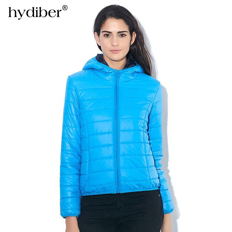 HYDIBER Hooded Winter <font><b>Jacket</b></font> Women Parkas 2018 New Fashion Casual Autumn Women's Candy-colored Coat Long Sleeve Outerwear 538TN