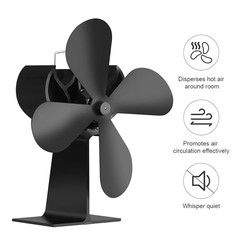 Heat Powered Stove Top Fan with Free Stove Themometer for wood/log burner /fireplace-Eco Friendly 16% Fuel Saving