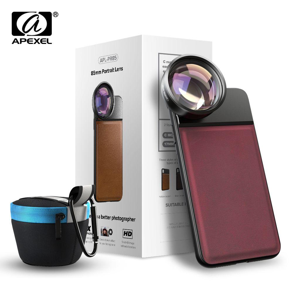 Objectif optique professionnel APEXEL, téléobjectif HD 85mm 3X lentille portrait professionnelle, pas de cercle sombre pour téléphone portable Samsung huawei Xiaomi