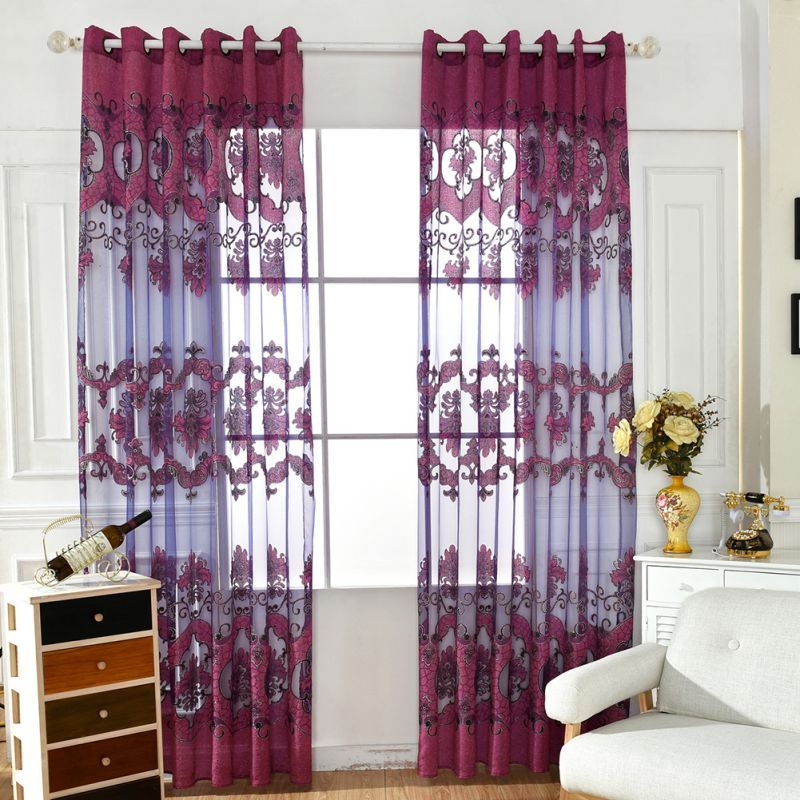 Floral Door Room Window Tulle Voile Curtain Drape Panel Sheer Scarf Valances New