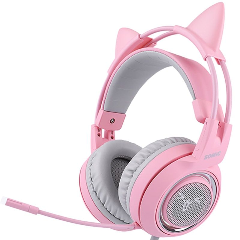 SOMIC G951 Pink Noise Cancelling Lovely Cat Girl PS4 Gaming Headphones,Virtual 7.1 Surround Sound LED Headset with SVE Vibration