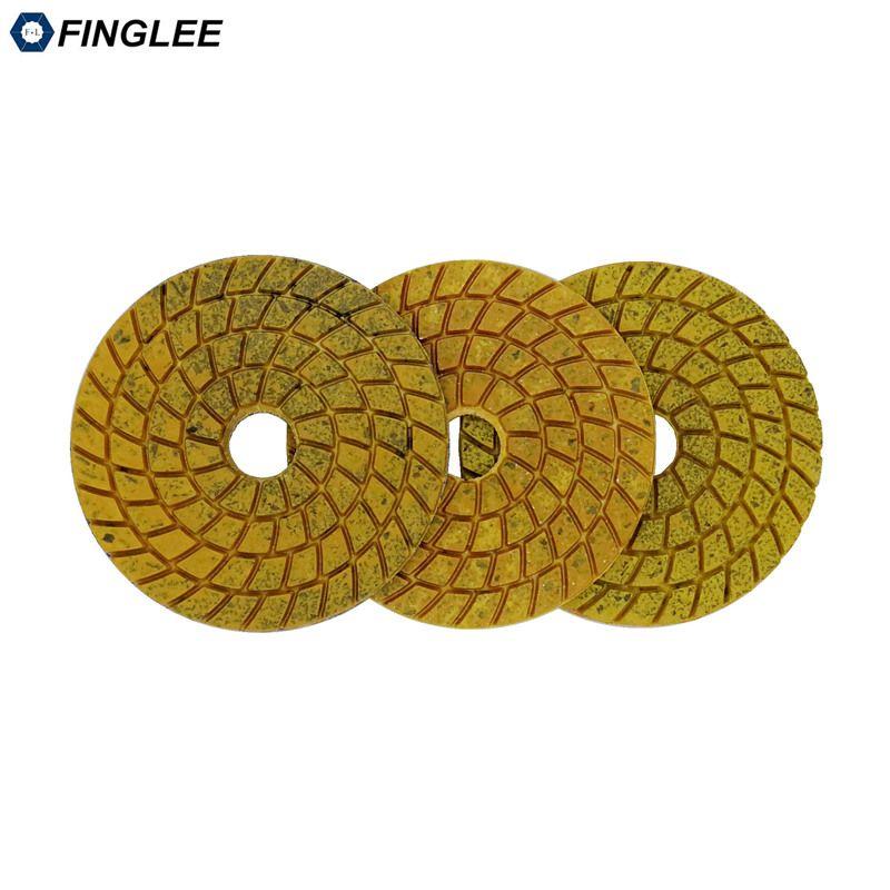 FINGLEE 3 pcs/lot 100mm tampons de polissage Diam Super agressifs liaison cuivre marbre granit meulage terrazzo meulage rapide