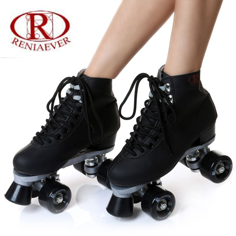 roller skate classic black double row skating shoes pulley shoes 4 wheel shoes outdoor indoor riding asphalt road roller skate
