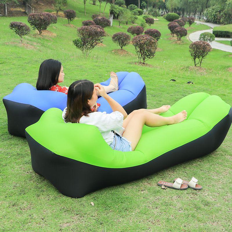 Canapés de jardin pliants rapides sac gonflable imperméable canapé paresseux camping sacs de couchage lit d'air chaise longue de plage adulte