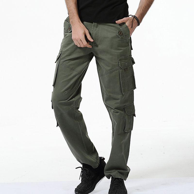 2017 pantalones militares de carga para los hombres verde del ejército multi bolsillos lavado fácil entrenamiento Tactical pantalones más tamaño 40 hombres pantalones ocasionales de