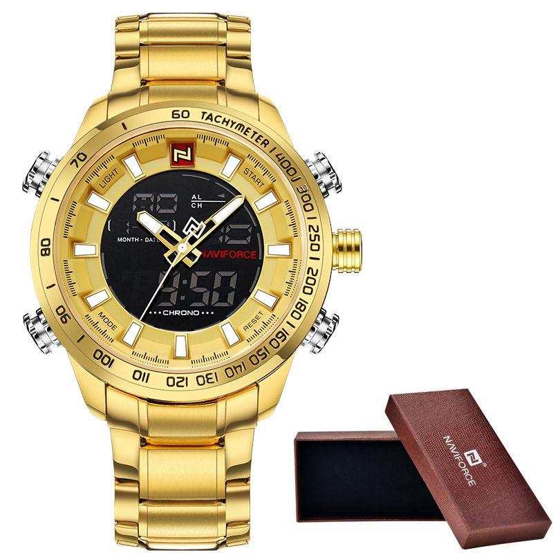 Men's NAVIFORCE Luxury Brand Sport Watches Men Dual Display LED Digital Waterproof Full Steel Quartz Watch Man Clock+origin box