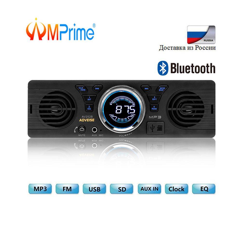 Autoradio AMPrime 1din universel 1 DIN 12 V FM MP3 Autoradio Bluetooth appel mains libres Auto avec haut-parleur haut-parleur intégré au tableau de bord Autoradio