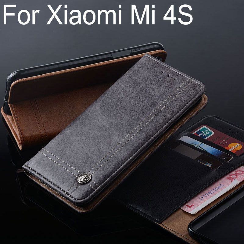 for Xiaomi mi 4s case Luxury Leather Flip cover with Stand Card Slot Vintage Business Case for Xiaomi mi 4s mi4s Without magnets