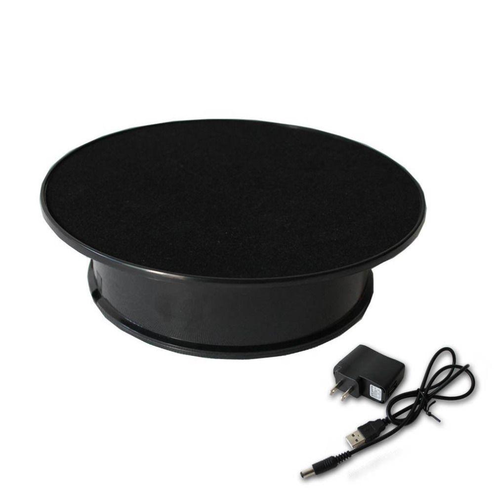 Elegante Terciopelo negro Top Eléctrico Motorizado Mesa Giratoria Pantalla para la joyería soporte de exhibición Rotatorio