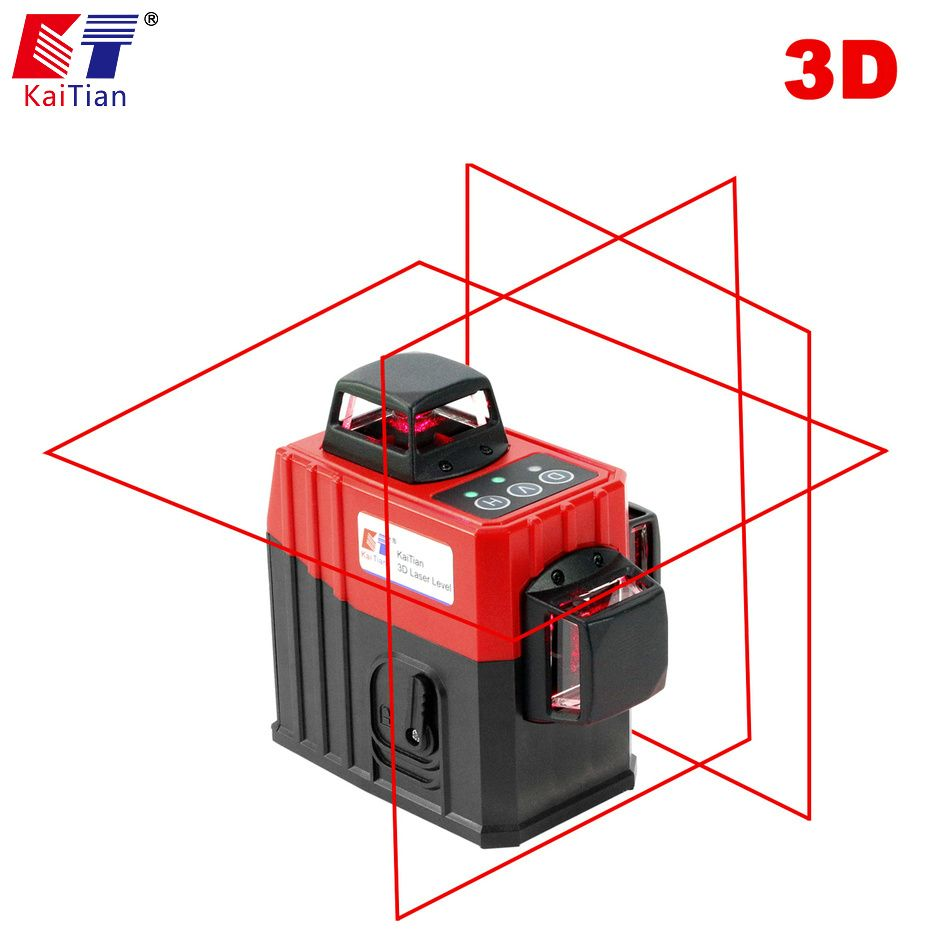 KaiTian 12Lines 3D5 Laser Level Self-Leveling 360 Horizontal And Vertical with Outdoor Tilt Function Cross Red Laser Beam Line