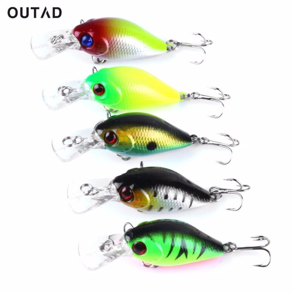 OUTAD 5PCS 5CM Colorful Fishing Lures Portable Crankbaits Fishing Hooks Minnow Baits Hard Baits Metal Hook Fishing Tackle