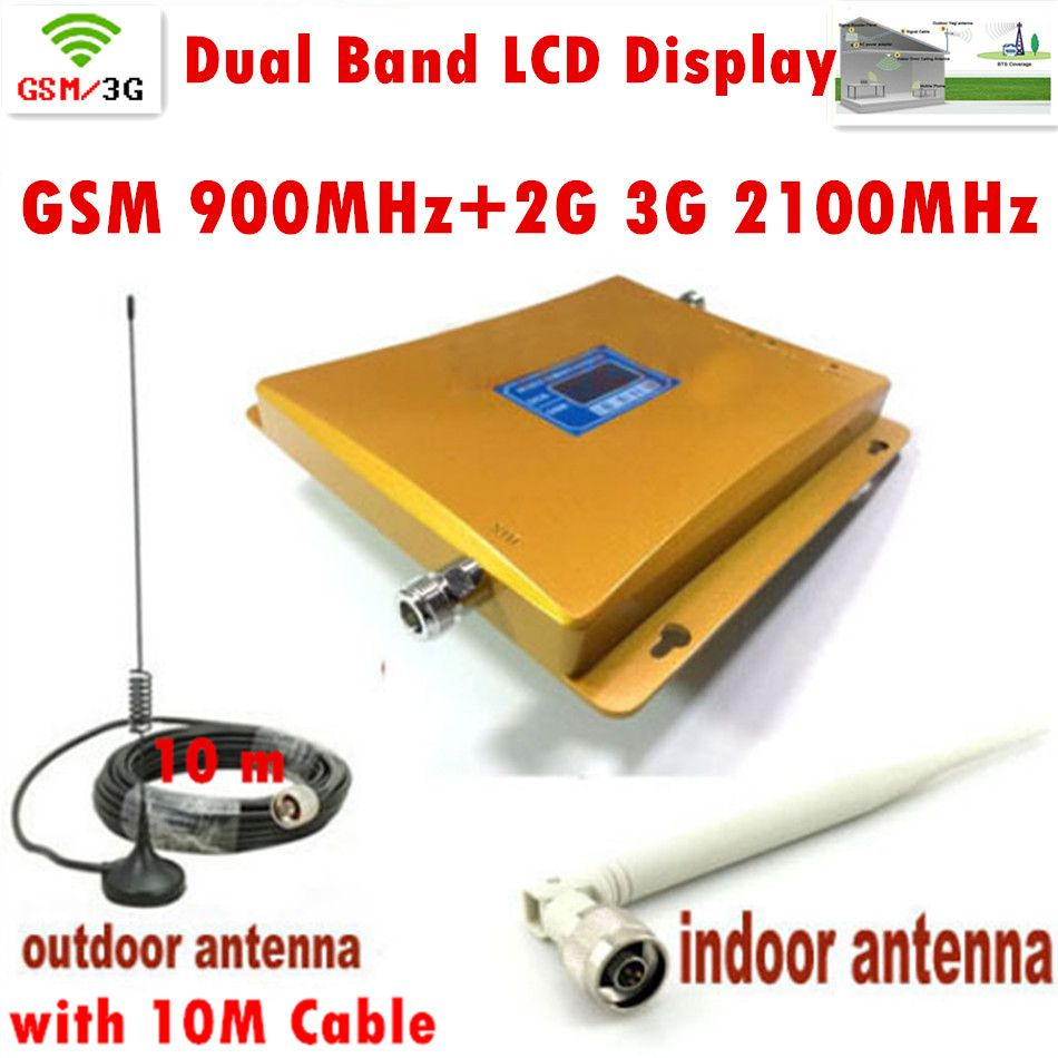 FULL SET LCD Display Dual Band 3G W-CDMA 2100MHz + GSM 900Mhz Mobile Phone Signal Booster Cell Phone Signal Repeater Amplifier