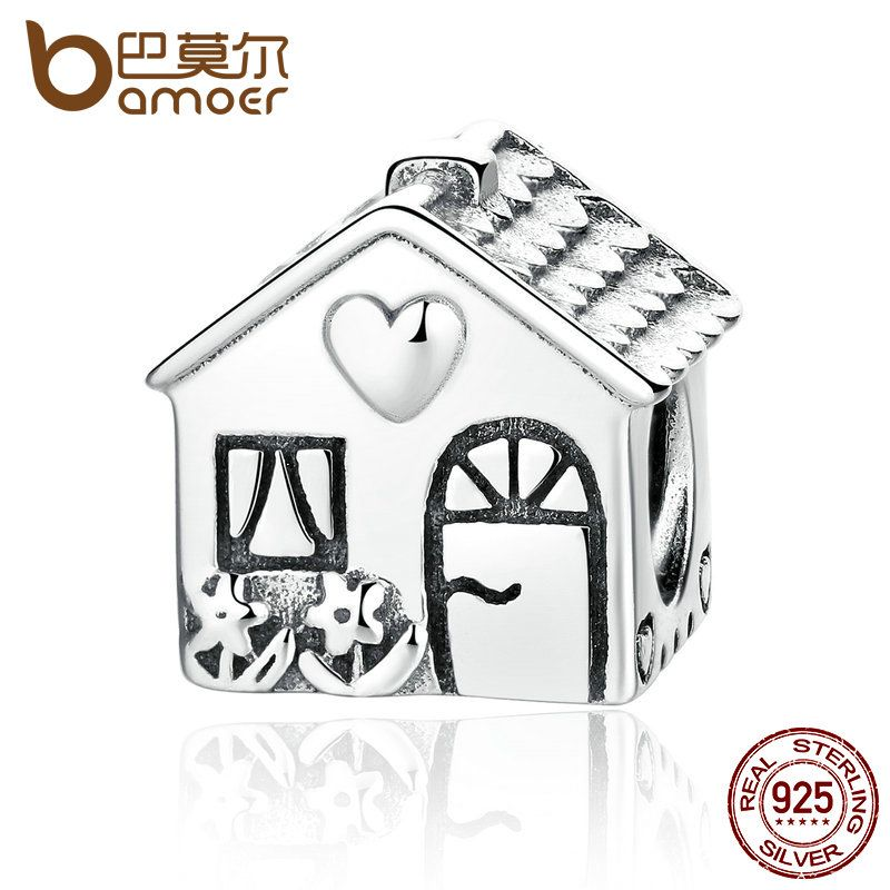 BAMOER Authentic 925 Sterling Silver Love Heart House Charms Fit Bracelets Families Gift Fine Jewelry PAS341