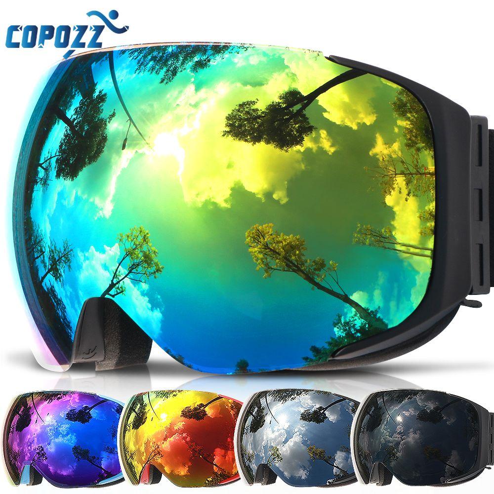 Copozz gafas de esquí de marca reemplazable lentes magnéticas UV400 anti-niebla máscara de esquí hombres mujeres nieve snowboard gafas GOG-2181