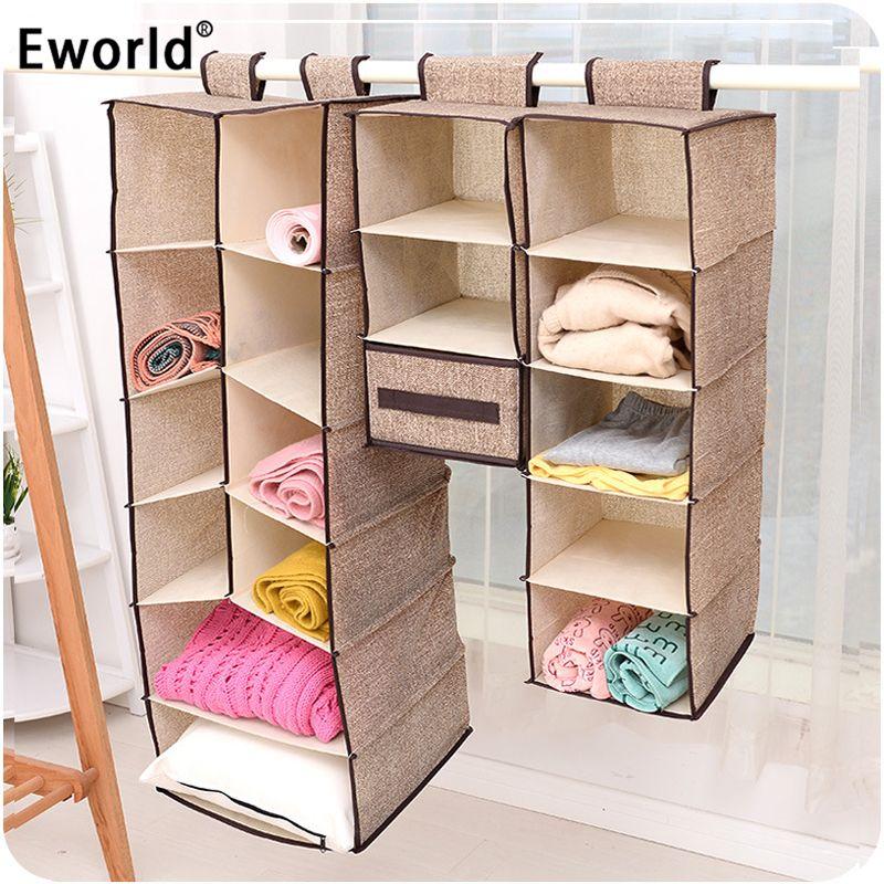 Eworld cell vêtements créatifs suspendus tiroir boîte sous-vêtements tri rangement mur armoire placard organisateur étagères organisadores