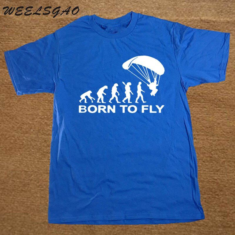 WEELSGAO Summer Fashion Born To Fly Evolution Of Paragliding Paragliders T Shirt Mens Clothing Tops Tees Short Sleeve T-shirt
