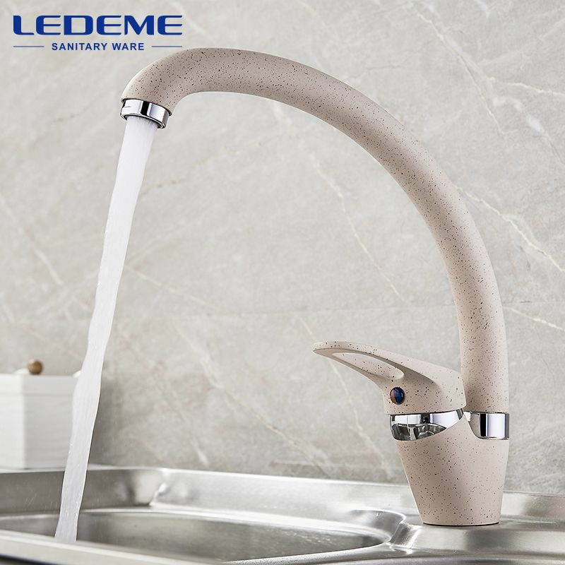 LEDEME Faucet Brass Kitchen Mixer Cold And Hot Single Handle Swivel Spout Kitchen Water Sink Mixer Tap Faucets L5913 4 Color