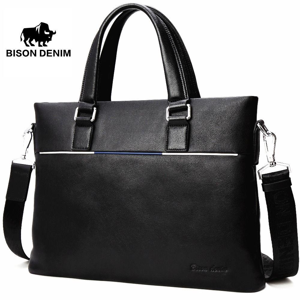 BISON DENIM Genuine Leather Bag Men Briefcase Slim 14