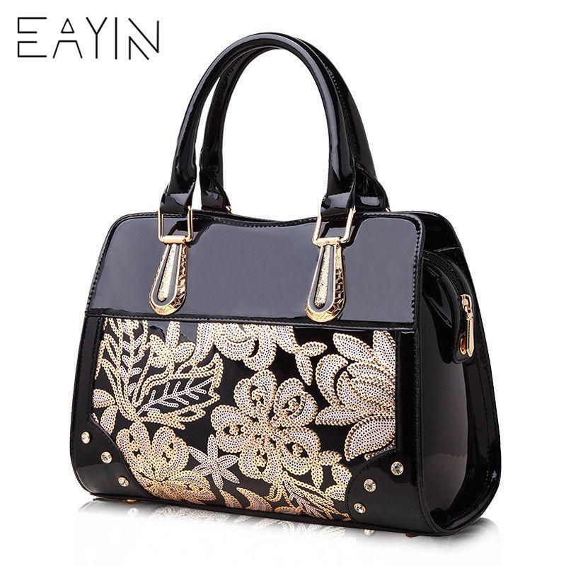 Luxus Designer Schwarz Leder Tote Tasche Handtaschen Pailletten Blume Frauen Berühmte Marke dame Lackiert Handtasche Taschen Für Frauen