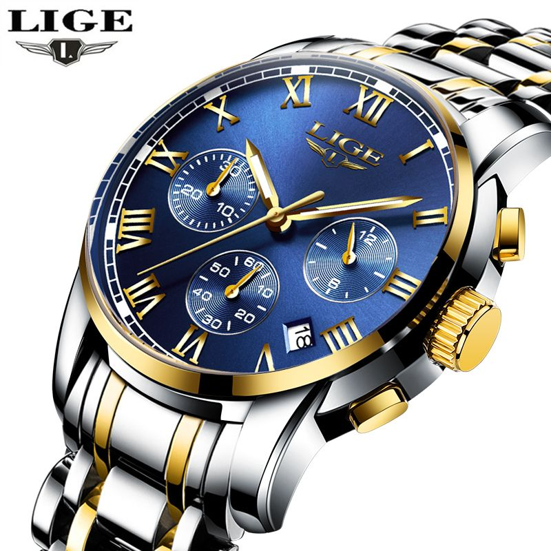 LIGE Mens Watches Brand Luxury Fashion Business Quartz Watch Men Sport Full Steel Waterproof Wristwatch Clock Relogios Masculino