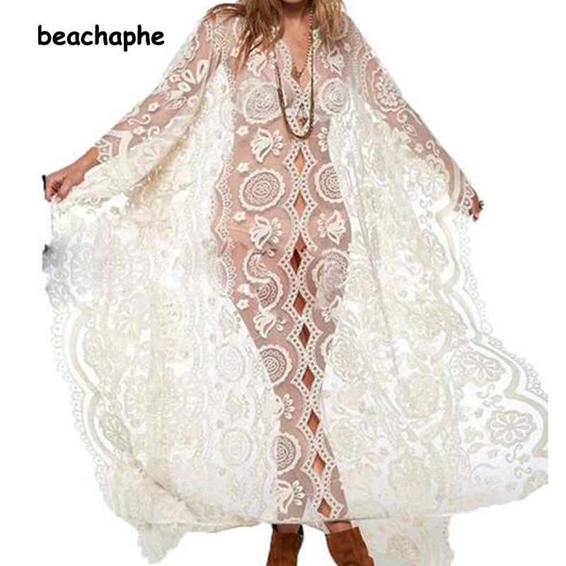 2018 femmes transparent robe Hippie Boho Sexy profonde col en V dentelle plage porter longue robe blanche Maxi robe Vestidos