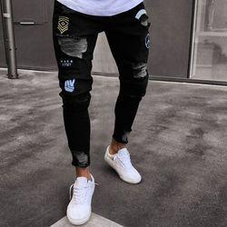 Nueva Promoción de 2018 del agujero de los hombres pantalones vaqueros bordados pantalones de los hombres delgados