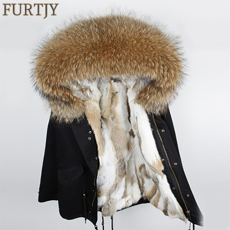 Special sale Fashion woman army green Large raccoon fur collar hooded coat parkas outwear detachable rabbit fur liner Parka