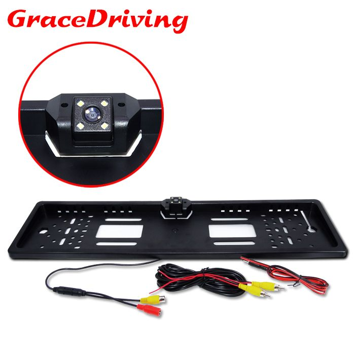 New Arrival European Universal Car License Plate Frame Camera Auto Reverse Rear View Backup Camera 4 LED For All European Cars
