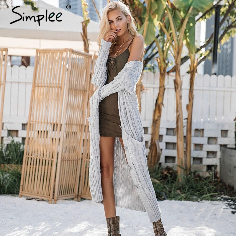 Simplee Knitting long cardigan winter sweater women jumper Knitted cardigan female coat Soft white pocket sweater pull outerwear
