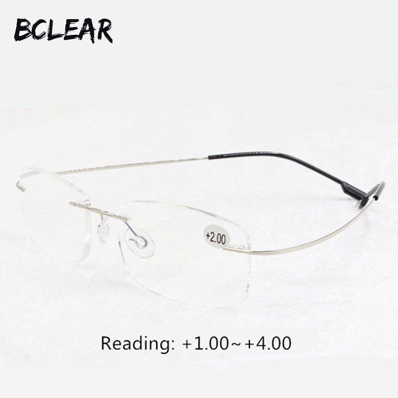 BCLEAR presbytie lunettes unisexe sans monture mémoire titane flexible mode lunettes de lecture + 1.0 + 1.5 + 2.0 + 2.5 + 3.0 + 3.5 + 4.0