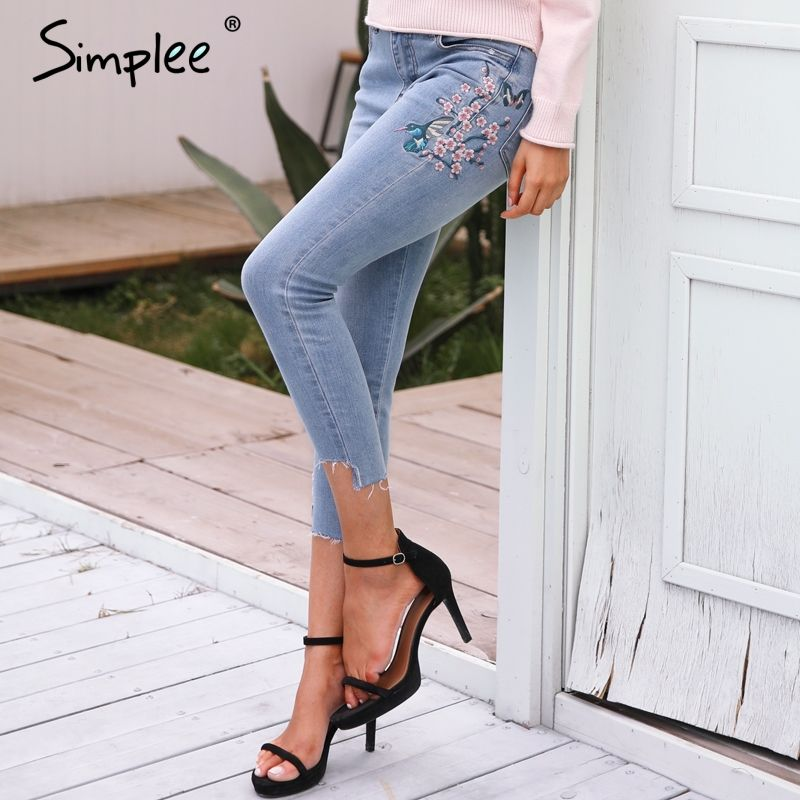 Simplee Bird floral embroidery jeans female Casual high waist jeans calf length pants Light blue long denim pants women