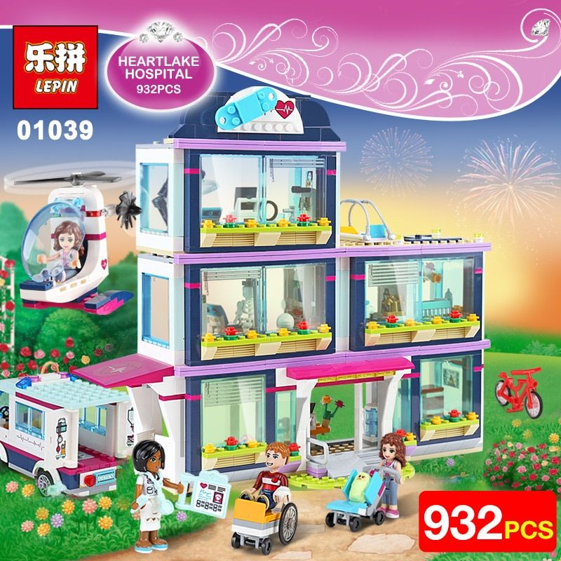 Lepin 01039 Friends Girls Series 932pcs Building Blocks toys Heartlake Hospital kids Bricks girl birthday gifts Compatible 41318