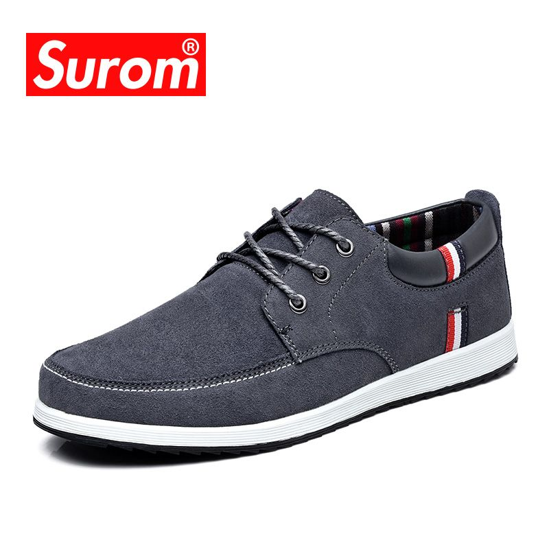SUROM 2018 Men's Leather Casual Shoes Suede Moccasins Men Loafers Luxury Brand Lace up Male Boat Shoes Sneakers flat Krasovki