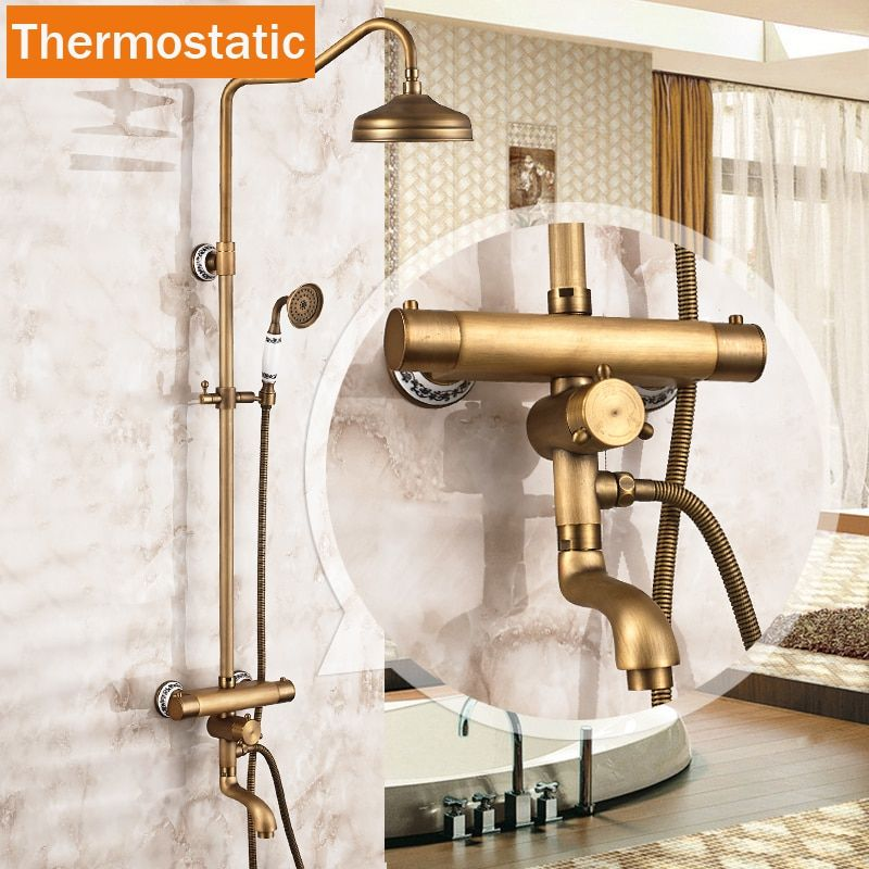 Best Quality Wall Mounted Two Handle Thermostatic Shower Mixer Thermostatic Faucet Bath Shower Set + Handshower