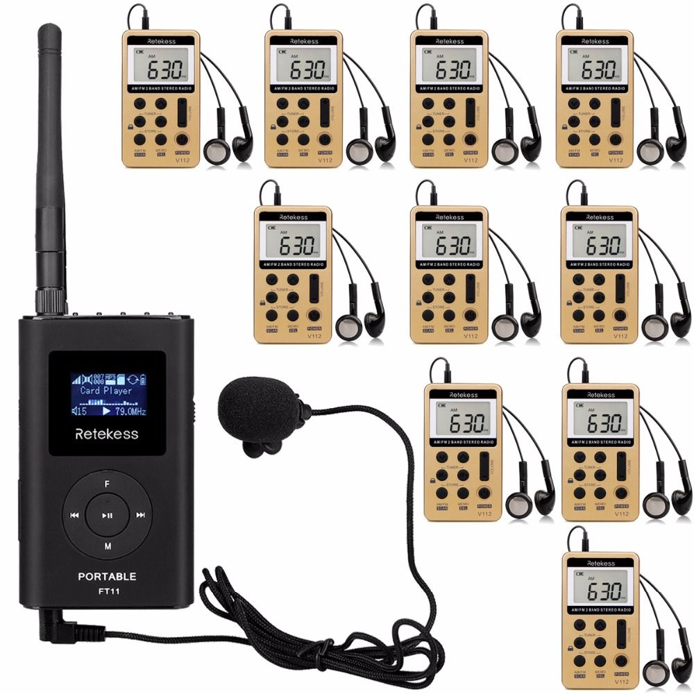 RETEKESS Tour Guide System Wireless Voice Transmission System For Meeting Training 1 Handheld FM Transmitter + 10 Radio Receiver