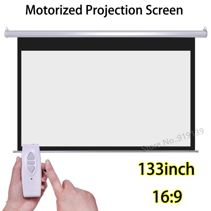 133 inch 16:9 Motorized Screens Best Price For HD Projector Electric 3D Projection Screen With Wireless Remote Control