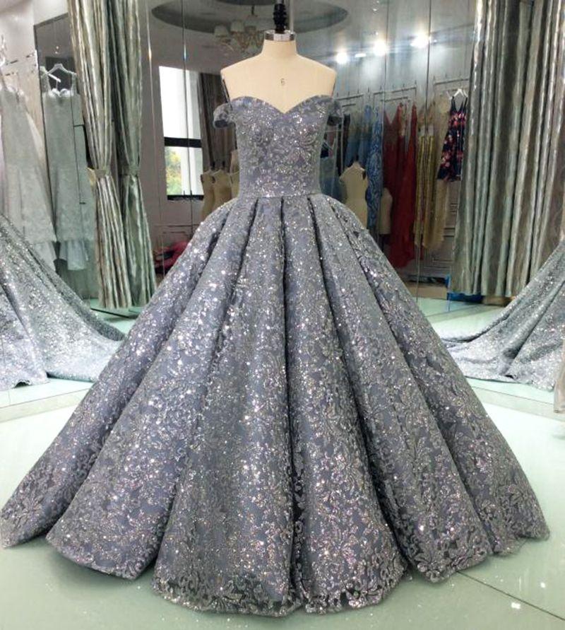 Luxus Glitter Pailletten Abendkleider Lange 2018 Ballkleid Sparkly Saudi Arabisch Frauen Formales Abend-abschlussball-kleider Vestido De Festa
