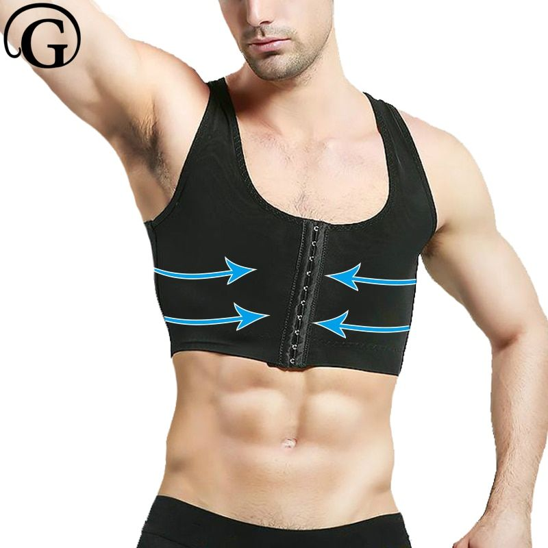 PRAYGER Power Men control Gynecomastia Shaper Compression Chest <font><b>Body</b></font> Posture Corrector Corset Sleeveless Invisible Top Underwear