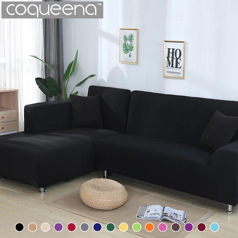 2 pièces housses pour canapé d'angle salon universel extensible élastique en forme de L housse de canapé Chaise Longue couvre couleur unie