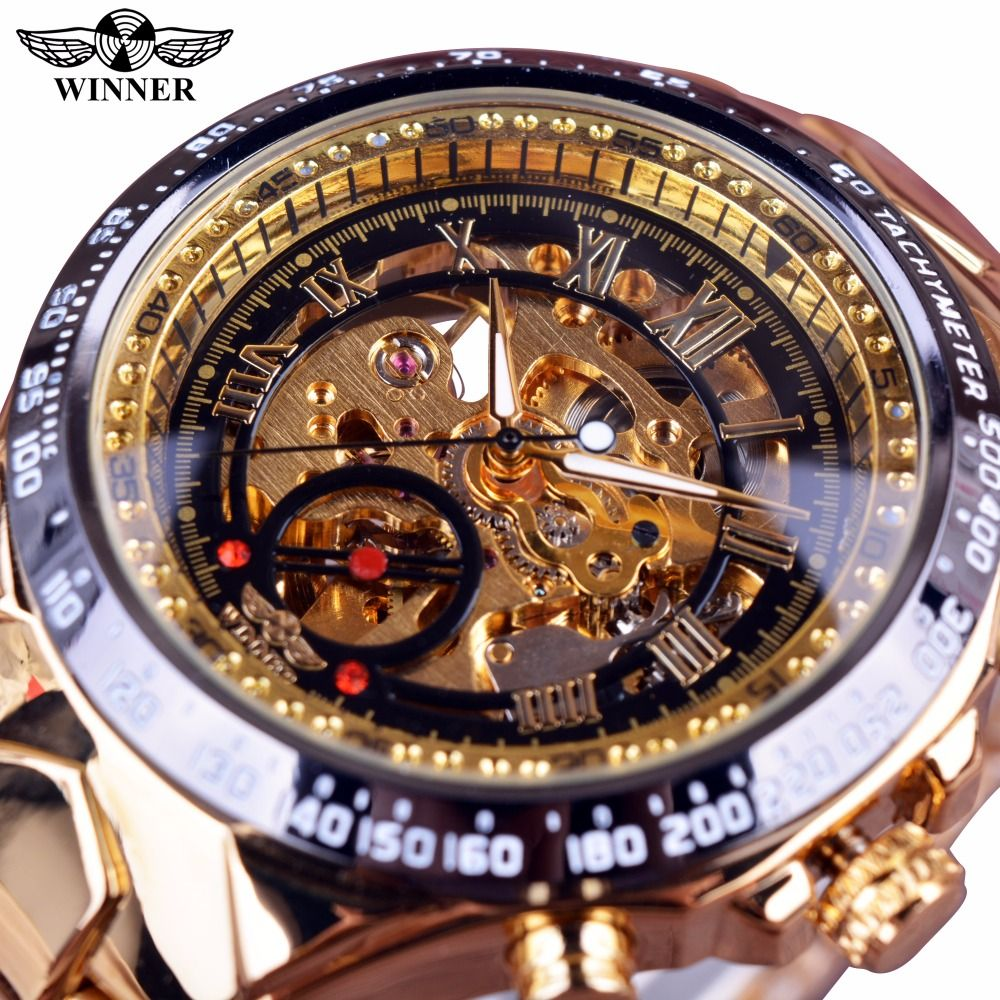 Gagnant mécanique Sport Design lunette or Montre hommes montres haut marque de luxe Montre Homme horloge hommes automatique squelette Montre