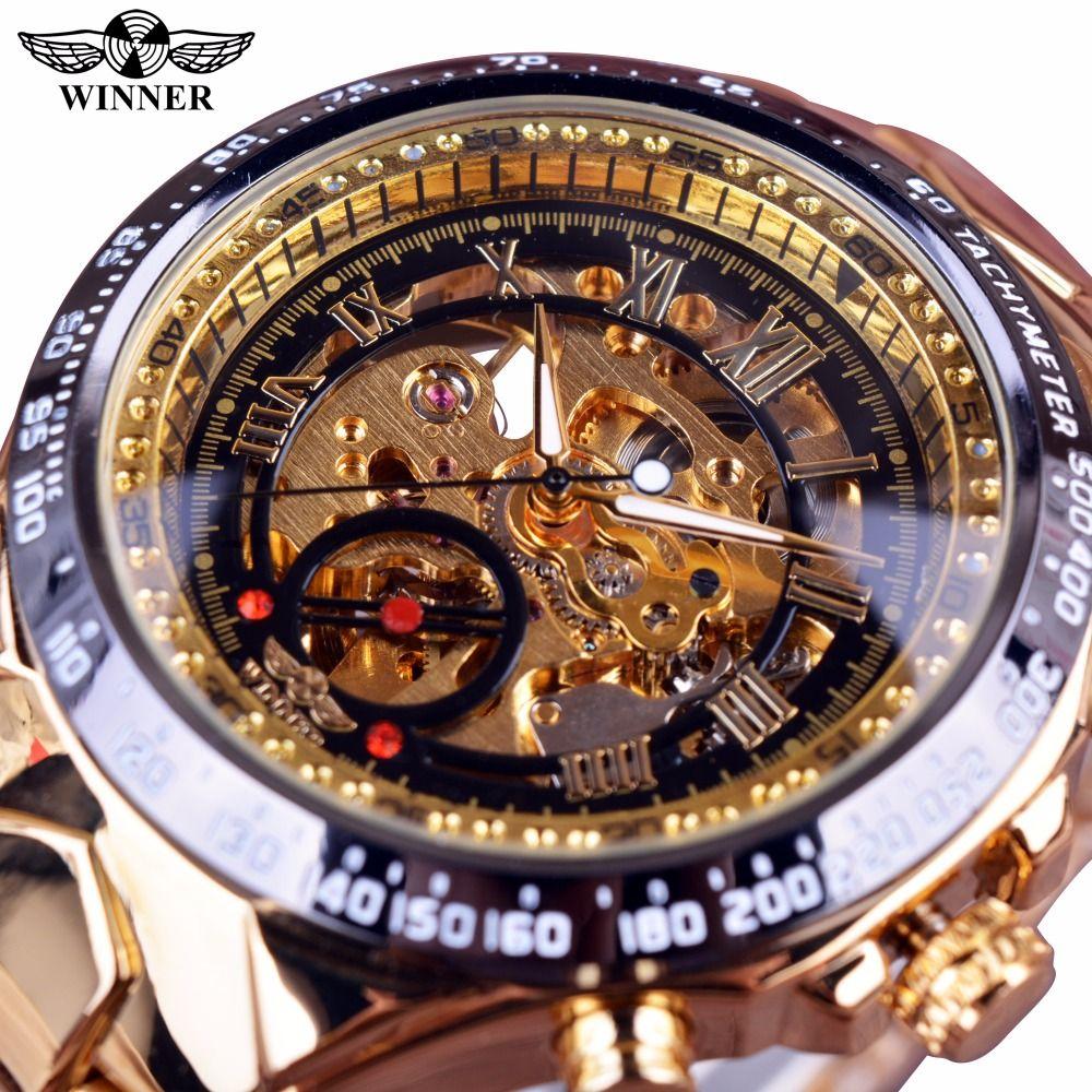 Winner mécanique Sport Design lunette or Montre hommes montres Top marque de luxe Montre Homme horloge hommes automatique squelette Montre