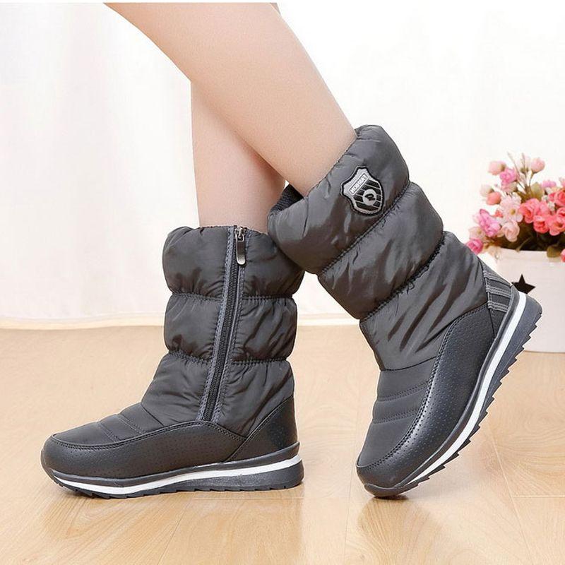 Women Boots 2017 New Arrivals Platform Snow Boots Zipper Waterproof Thick Plush Warm Women Winter Shoes for -35 degrees