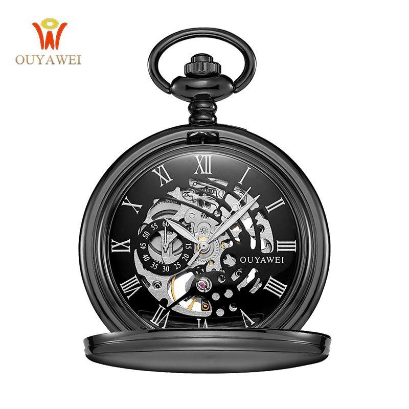 Antiguo esqueleto reloj de bolsillo mecánico regalo collar de cadena de los hombres negocios casual Relojes de bolsillo reloj de lujo ouyawei