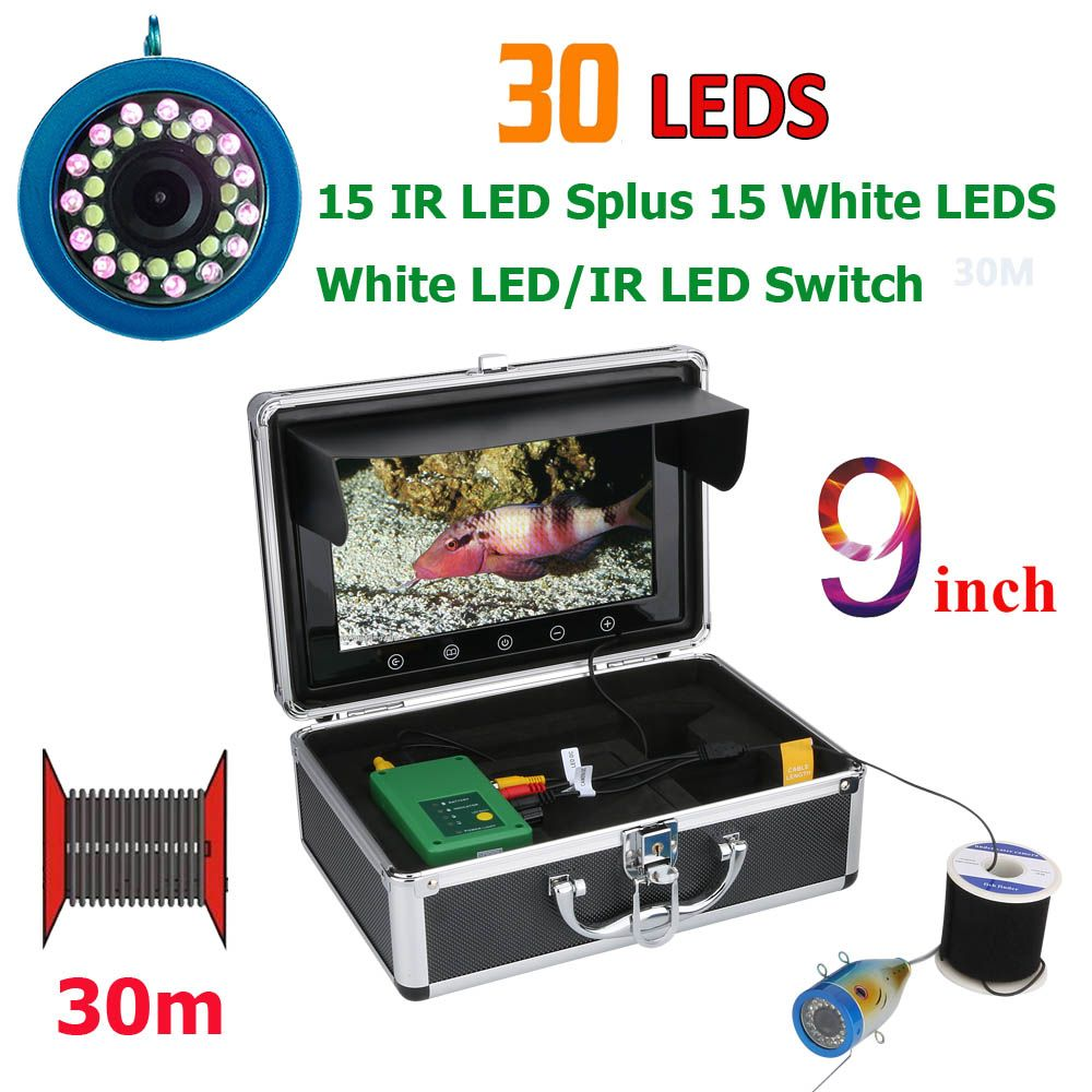 GAMWATER 9 Inch 15M 30M 50M 1000TVL Fish Finder Underwater Fishing Camera 15pcs White LEDs + 15pcs Infrared Lamp For Ice/Sea
