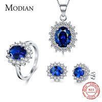 7 Color clásico Real de la joyería de la plata esterlina 925 de pendientes de moda clara Oval colgante de cristal collar de cadena de mujeres