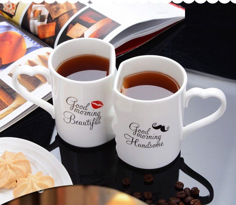 OUSSIRRO 2Pcs/Set Couple Cup Ceramic Coffee Kiss Mug Creative Valentine's Day Wedding Birthday Gift