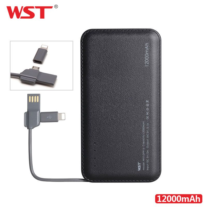 WST 12000mAh Power Bank Built-in Cable Portable Battery Charger for Android IOS Devices Li-Polymer Mobile Portable Battery Pack