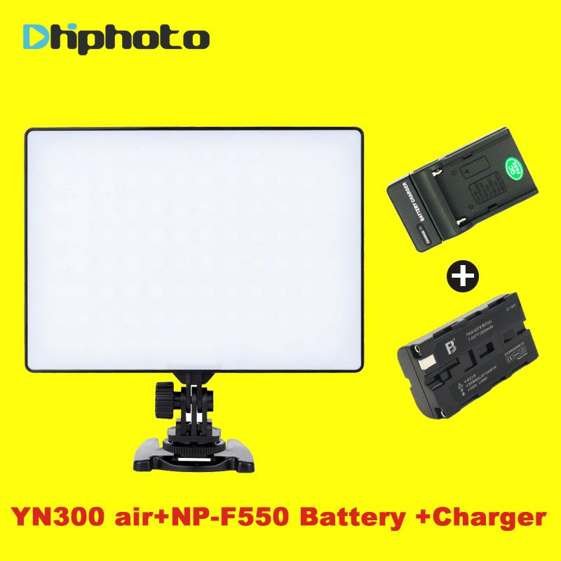 YONGNUO YN-300 YN300 Air Camera LED Video Light Panel On Camera 3200K-5500K with Battery Charger for Canon Nikon Live Stream