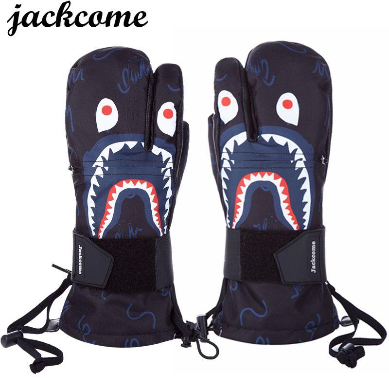 JC Wintersport Ski-handschuhe Männer Frauen Wasserdichte Ski Snowboard Handschuh Winddicht Leder Warme Snowboard Snowmobile Handschuhe